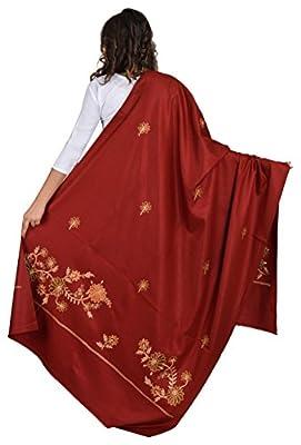 BAISA Women's Plain Kashmiri Kingri with Machine Embroidery Shawl/Stole (Maroon, Large)
