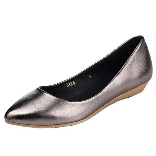 TAOFFEN Femme Mode Confortable Plat A Enfiler Chaussures Basse Métal