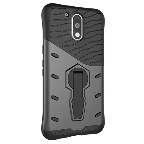 Für Moto G4 & G4 Plus Case Neue Rüstung Tough Style Hybrid Dual Layer Rüstung Defender Soft TPU / PC Rückseitige Abdeckung Fall mit 360 ° Stand [Shockproof Case] ( Color : Blue ) Black