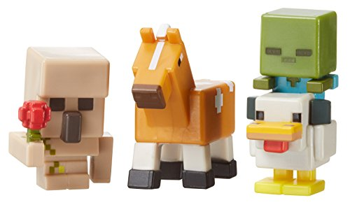 e 3-Pack, Iron Golem with Flower, Chicken Zombie & Palamino Horse by Mattel (Zombie Horse Minecraft)