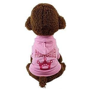 Vetement Chien/Chat Angelof Rose Manteau Chien T-Shirt Princess Dog Avec Chapeau Habits Hiver Chien Accessoires Pour Chien Manteaux