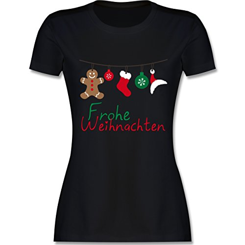 ter - Frohe Weihnachten Girlande - XL - Schwarz - L191 - Damen Tshirt und Frauen T-Shirt ()