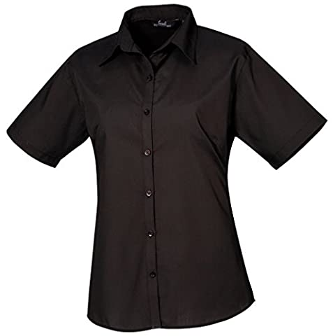 Premier Womens Short Sleeve Poplin Blouse - Black* - 18.0