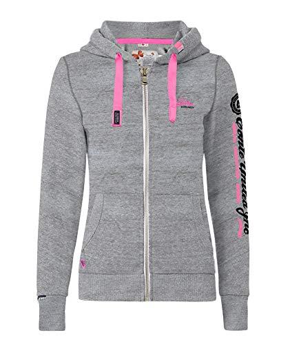 M.Conte Rachel Damen Hooded Sweater Sweat-Shirt-Jacke S M L XL Weiss Blau Grau Schwarz Pink Mit Kapuze Grau Grey Melange M