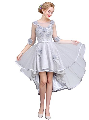 Drasawee Damen A-Linie Kleid Grau