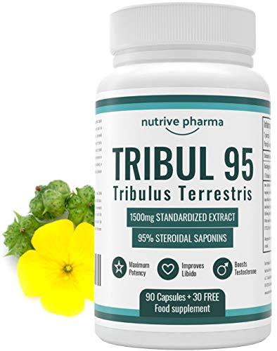 Tribul95® 6000mg pro Tagesdosis - 95% Saponine - Natürlicher Testosterone Booster - Libido & Energie - Hochdosiertes Tribulus Terrestris Extrakt 1500mg in einer Kapsel - 90 + 30 Kapseln GRATIS