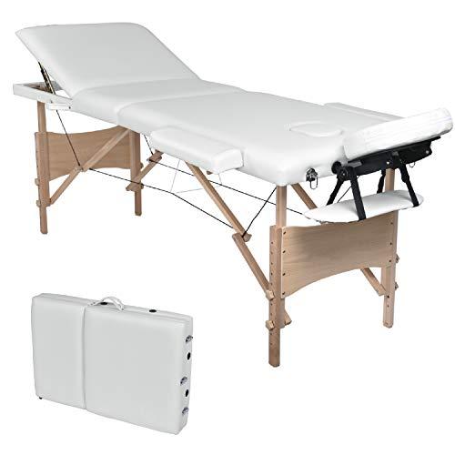 Wellhome lettino da massaggio 3 zone legno pieghevole portatile lettini massaggi professionale tavolo da massaggio fisioterapia con poggiatesta e bracciolo staccabile, borsa da trasporto xxl(bianco)