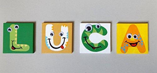 Nome Bambino con Alfabeto Mostriciattolo, lettere dipinte su tela 10x10 cm