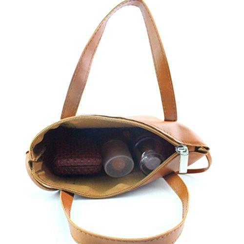 ZARU Frauen-Art- und Weisehandtasche, Schulter-Beutel-großer Tote-Geldbeutel Braun