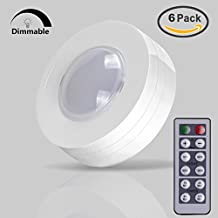 6 Pack LED Kitchen Cabinet lights, AKAPH Battery-Operated Stick-On Touch Light, Nature White