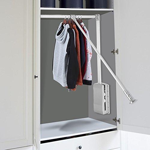 Descripción: Este riel de armario se puede montar en el interior del armario para aprovechar al máximo el espacio superior. El diseño desplegable hace que sea fácil de colgar o llevar ropa. Producto de alta calidad que permite 10kg de peso como máxim...