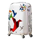 FUNXS Reisekoffer Tasche Mit Rädern Trolley Koffer Koffer Studenten Handgepäck 24 Zoll Kunstdruckpapier Kran Rollgepäck Spinner Koffer (Farbe : Style 3, Luggage Size : 24