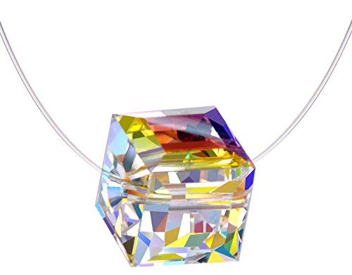 Infinite U Fashion Cube 925plata de ley Crystal Colgante Solitario Collar Invisible Nylon Cadena para las mujeres/niñas, Plata