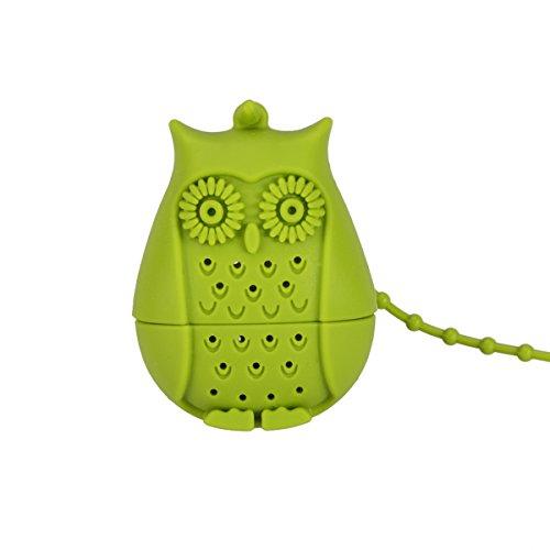 BESTOMZ Infuseur de feuille à thé en silicone en forme de hibou Passoire à thé (vert)