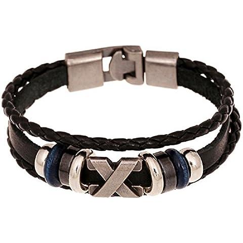 Toraway Hombres joyería del Rhinestone tres anillos de metal hecho a mano pulseras de cuentas