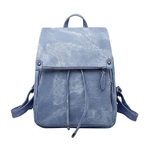 Ehpow Damen Rucksack Mädchen Schultasche Wasserdicht Diebstahlschutz PU-Leder Wildleder Umhängetasche Reiserucksack (Blau)