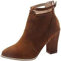 SCHOLIEBEN Boots Stiefel Chelsea Ankle Halbschaft Damen Schwarz Winter Kurzschaft Schuhe Biker Combat Desert Chukka Absatz High Heel Plateau