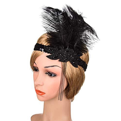 Accessoires, Elastic Strap Fringed Haar Accessoires Feder Rhinestone Haarpflegeläde Zubehör für Karneval Halloween Prom Thema Party (eine Größe),A ()