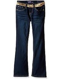 Lee Big Girls' Gold Sequin Belted Boot Jean