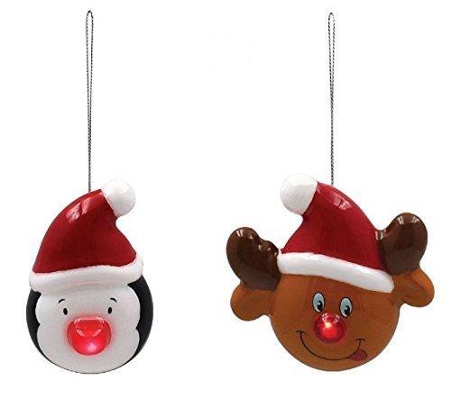 Mignon PINGOUIN & RUDOLPHE LED ROUGE NEZ BLANC NOIR Colifichet ornement de Noël Décorations