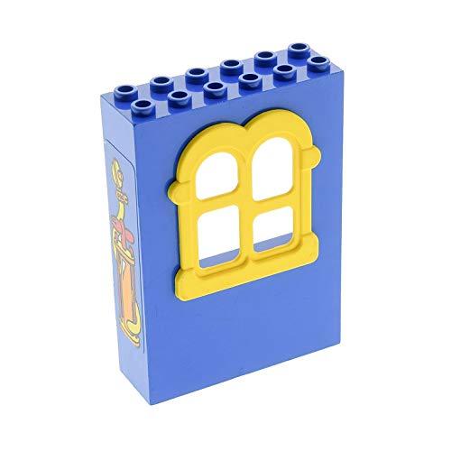 1 x Lego System Fabuland Fenster Wand blau gelb 2 x 6 x 7 Fensterkreuz rechteckig rund Sticker Feuerwehr Pumpe Set 3666 x637c02pb02 -