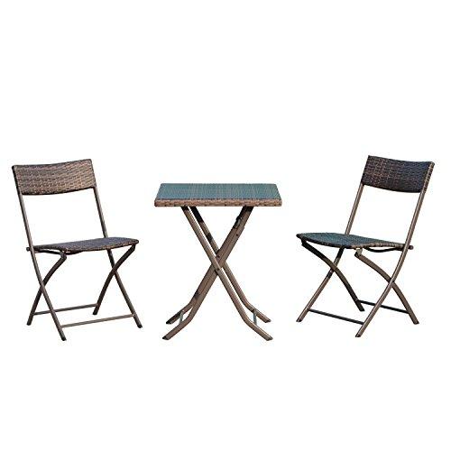 Outsunny Set Tavolino da Giardino 3pz Tavolino con 2 Sedie Pieghevoli in Rattan, Marrone