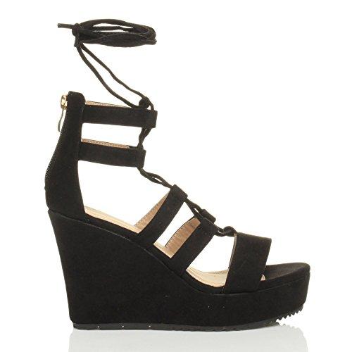 Damen Hohe Keilabsatz Riemchen Schnür-Pumps Gladiator Sandalen Schuhe Größe Schwarz Wildleder