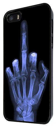 601-Xray doigt Skeleton Funky Coque iPhone 55S Design Fashion Trend Case Back Cover Métal et Plastique-Noir