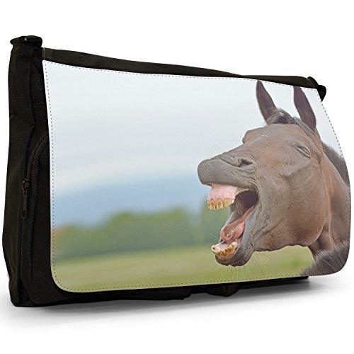 Elegante, motivo: cavalli, misura grande, colore: nero, Borsa Messenger-Borsa a tracolla in tela, borsa per Laptop, scuola Laughing Brown Horse