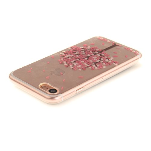 Custodia per iPhone 7 4.7,SKYXD Lusso Luminosa Brillante Strass Creativo Disegni Rainbow Cover Trasparente Silicone Antiurto Case per Apple iPhone 7 4.7 Case Custodia per iPhone 7 Glitter Moda Spina Rosa Ciliegio