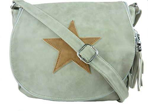 Schultertasche Stern - Damen Umhängetasche mit Stil - Leder optik - 30 x 25 x 10 cm (braun) grau hellgrau