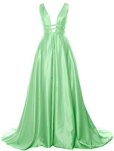 MACloth Deep V Neck Long Prom Ball Gown Open Back Satin Formal Evening Dress Menthe