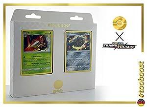 Bibor (Dardargnan) 5/181 & Tentantel (Noacero) 103/181 - Tooboost X Sonne & Mond 9 Teams Sind Trumpf - Juego de 10 Cartas Pokémon alemanas + 1 Goodie Pokémon