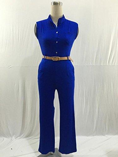 Jumpsuit Femme Kolylong 2016 Haute Tunique Jumpsuit Femme Sans Bretelles éTé Soiree Combinaison Femme Chic Sexy Col V Grande Taille Pantalon Playsuit Romper Bleu