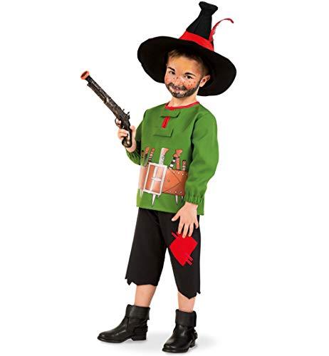 KarnevalsTeufel Kinderkostüm-Set Räuber Hotzenplotz Oberteil und Hose mit Hut und Pistole Verkleidung - Räuber Kostüm Männer