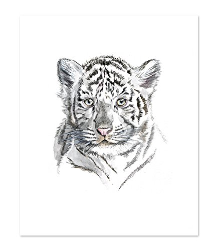 r Print-Cute Baby Animal Aquarellzeichnung Hochformat Face-Poster Wall Art Decor Bild Artwork-Wild Safari Dschungel (8x 10) ()