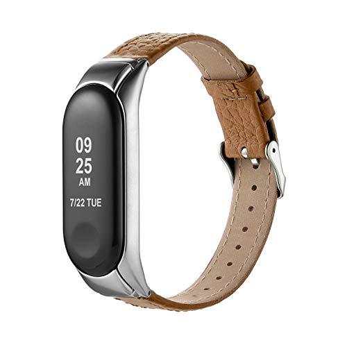 Hianjoo Kompatibel für Xiaomi Mi Band 3 Leder Armband, Schlankes Atmungsaktives Ersatzarmband mit Metallschnalle Kompatibel für Mi Band 3 - Brown Armband + Silber Rahmen