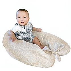 Merrymama Cuscino allattamento e gravidanza + fodera con lacci/cm 190 (imbottito in pula di farro bio), Provenzale Ecrù