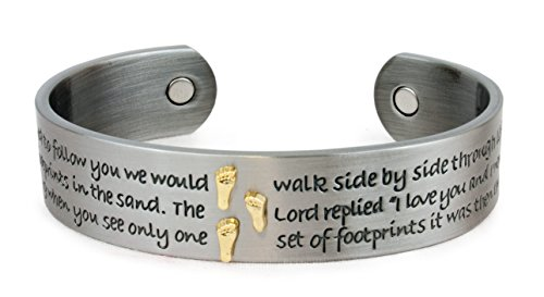 Magnetarmreif Armreif Fuß Fußabdruck, Kupfer Zinklegierung mit Magneten, offen, Damen Magnetschmuck Armband Affirmationsarmband