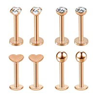 AIM Cloudbed 8 PCS Labret Monroe Lip Rings Tragus Labret Stud Surgical Steel Earring Stud 16G 8mm Barbell Body Piercing Jewelry(Rose Gold)