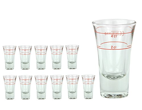 12er Set Schnapsglas DUBLINO mit Eichstrich, 2 cl + 4 cl in Einem, doppelt-geeichtes Spirituosenglas mit Füllstrich, Double Shot Glas, Stamper, hochglänzendes Markenglas, glasklar