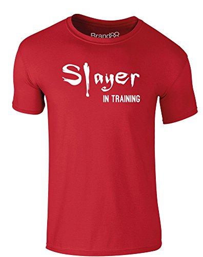 Brand88 - Slayer in Training, Erwachsene Gedrucktes T-Shirt Rote/Weiß