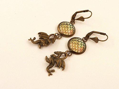 Fantasy Ohrringe mit Drachen und Ei Mittelalter Schmuck