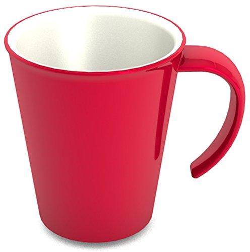 Ornamin Kaffeepott 300 ml rot (4er Set)   hochwertiger, stabiler Kaffeebecher aus Kunststoff mit Henkel   robustes Alltags-Geschirr für Zuhause, Büro, Camping, Picknick, Gemeinschaftsverpflegung, Großküchen, Institutionen   Kaffeetasse, Mehrweg-Becher