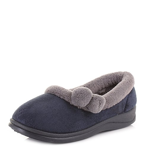 Damen Slipper bequeme Dr Lightfoot Webpelz Warm, Damen Slipper, Schuhe Navy/ Grey