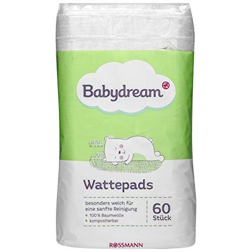 Babydream Wattepads 60 Stück besonders weich für eine sanfte Reinigung, 100{90cabc54401609e5ae20ee80bdd262b451b50003fb7992b219068840fbe30560} Baumwolle, kompostierbar