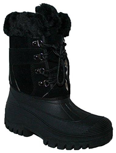 Femme Capacité stable Yard Velcro hiver neige bottes bottes chaussures Dentelle noire