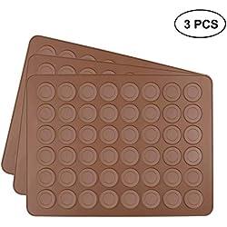 Tebery Lot de 3 tapis de cuisson en silicone pour 48 macarons parfaits 144 moules revêtement anti-adhésif Marron 39x29x0,3 cm