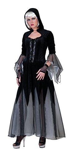 Karneval-Klamotten Böse Hexe Damen-Kostüm lang schwarz mit Kapuze Zombie Halloween Hexenkostüm Damenkostüm Größe 40/42