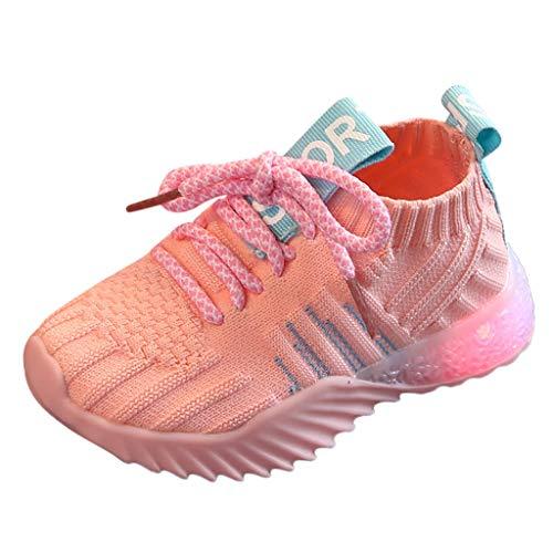 Lucky Mall Unisex Einfarbige Flache Turnschuhe mit LED-Licht, Mädchen Mode Laufschuhe Jungen Sneakers Kinder Freizeitschuhe Sommer Atmungsaktives Sportschuhe Strandschuhe -